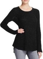 Aqua Cashmere Waffle Knit Raw Edge Cashmere Sweater