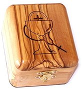 Christian First Holy Communion Baptism Confirmation Olive Wood Box by Bethlehem Gifts TM