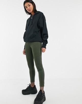 Bershka skinny trouser with studs in khaki