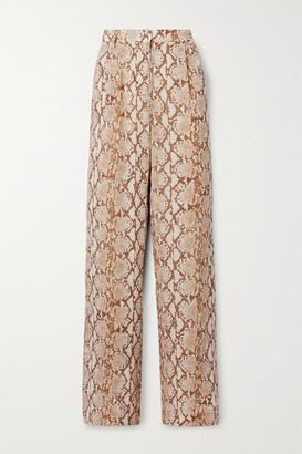 MICHAEL Michael Kors Snake-print Crepe De Chine Wide-leg Pants - Beige