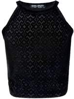 Select Fashion Fashion Womens Black Geo Flock Halter Crop - size 12