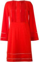 Piazza Sempione eyelet trim pintucked dress - women - Virgin Wool/Spandex/Elastane/Cupro - 40