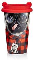 Mustard Coffee Crew Dog Reusable Cup I Travel Coffee Mug with Silicone Lid I Coffee Cup I Ceramic Travel Mug I Insulated Mug I Funny Reusable Travel Cup with Dog Ears I Gift Idea for Students - Dog