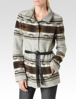 Paige Haylynn Coat - Heather Grey/Custard/Dark Brown