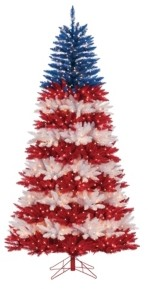 Sterling 7.5Ft. Patriotic America Tree in Red, White and Blue with 1040 Clear Lights and 10 Twinke Lights on Top Section