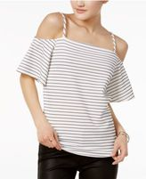 Bar III Crepe Cold-Shoulder Top, Only at Macy's