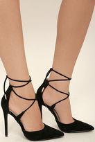 LuLu*s Dani Black Suede Lace-Up Heels