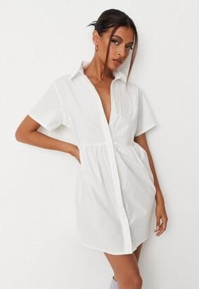 Missguided White Poplin Shirt Smock Dress