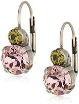 Sorrelli Army Girl Round Crystal French Wire Drop Earrings