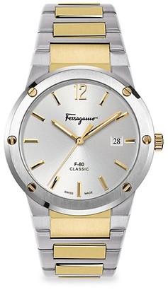 Salvatore Ferragamo F-80 Classic Stainless Steel & Yellow Goldplated Bracelet Watch