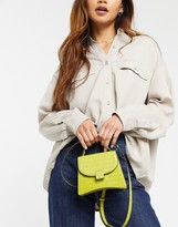 Who What Wear Bernnan mini bag with cross body strap in lime croc