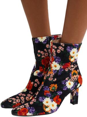 STAUD Brando Floral-print Velvet Ankle Boots
