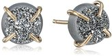 Melissa Joy Manning Metallic Denim 14 Karat Gold and Silver Mist Druzy Post Earrings