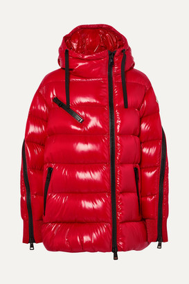 Moncler Liriope Hooded Quilted Glossed-shell Down Jacket - Red