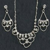 Gc Handcrafted Silver and Crystal Loops Necklace and Earrings Set