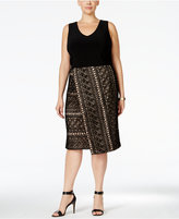 INC International Concepts Plus Size Mixed-Media Faux-Wrap Dress, Only at Macy's