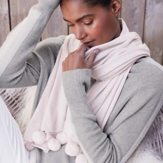 The White Company Cotton-Cashmere Pom-Pom Scarf, Pink, One Size