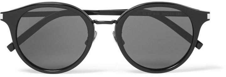 Saint Laurent Classic 57 Round-Frame Acetate and Gunmetal-Tone Sunglasses