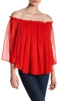 Romeo & Juliet Couture Woven Long Sleeve Off-the-Shoulder Pleated Blouse