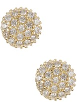 Candela 10K Yellow Gold Round Pave CZ Stud Earrings