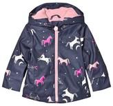 Joules Navy Unicorn Print Hooded Raincoat
