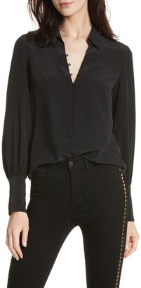 L'Agence Naomi Button Loop Silk Blouse