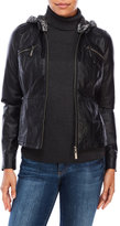 Joujou jou jou Faux Leather Jacket with Removable Knit Hood