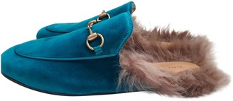 Gucci Princetown Turquoise Velvet Flats
