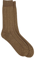 Barneys New York Men's Rib-Knit Mid-Calf Socks-GREEN