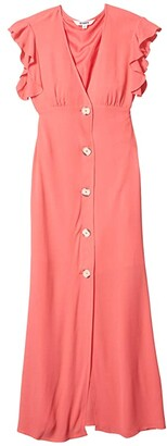 BB Dakota That's Amore Textured Crepe Button Front Midi Dress (Bright Rose) Women's Dress