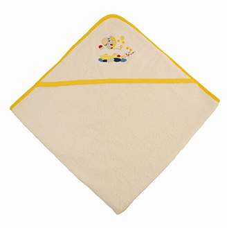 BEIGE BIECO 44510000 - Baby Hooded Towel 100% Cotton in Beige, Yellow Border and Zebra Motif, 100 x 100 cm, from 0 Months
