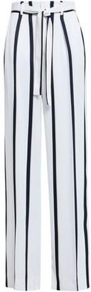 Equipment Evonne Belted Striped Satin-twill Wide-leg Pants