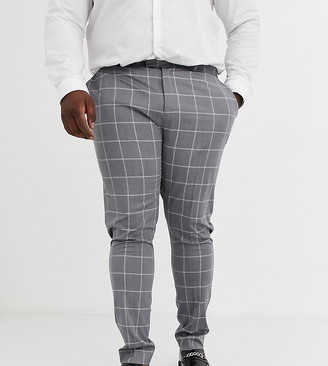ASOS DESIGN Plus super skinny suit trousers in light grey windowpane check