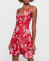 Express Floral Satin Wrap Front Asymmetrical Fit And Flare Dress
