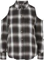 Topshop Check Cold Shoulder Shirt