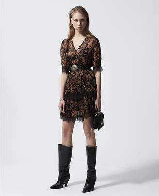 The Kooples Short printed dress with lace detailing
