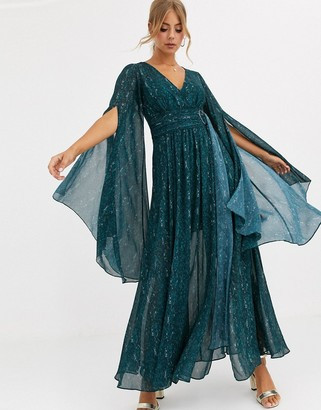 Forever New belted plunge maxi dress in emerald snake print