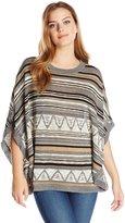 Fresh Women's Stripe Aztec Cape Pullover Sweater