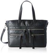 Pieces Pclaos Leather Bag, Women's Shoulder Schwarz (), 12 x 22 35 cm (wxhxd)