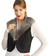 Rachel Zoe Luxe Faux Shearling Vest with Faux Fox Collar