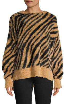 En Thread Fuzzy High-Low Tiger-Print Sweater