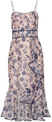 True Decadence Nude Floral Organza Cami Midi Dress