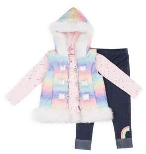 Little Lass Little Girl's 3-Piece Faux Fur-Trim Puffer Vest, Top & Leggings Set