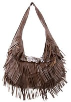 Andrew Marc Fringe-Trimmed Leather Hobo w/ Tags