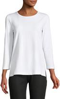 Lafayette 148 New York 3/4-Sleeve Dropped-Hem T-Shirt