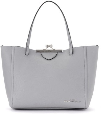 Marc Jacobs Kiss Lock Bag In Gray Leather