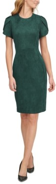 Calvin Klein Scuba-Crepe Faux-Suede Tulip-Sleeve Sheath Dress