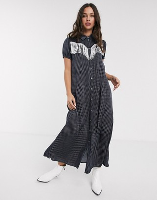 Résumé Resume tal fringe detail maxi dress in navy