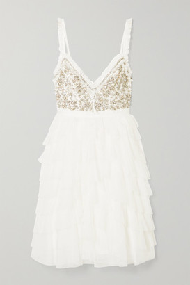 Needle & Thread Leilah Ruffled Embellished Tulle Mini Dress - Ivory