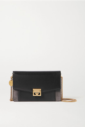 Givenchy Gv3 Textured-leather And Suede Shoulder Bag - Black